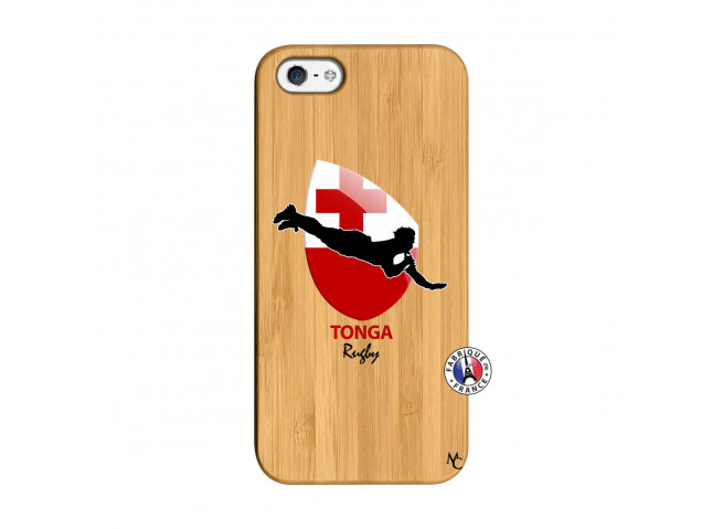 Coque iPhone 5/5S/SE Coupe du Monde Rugby-Tonga Bois Bamboo