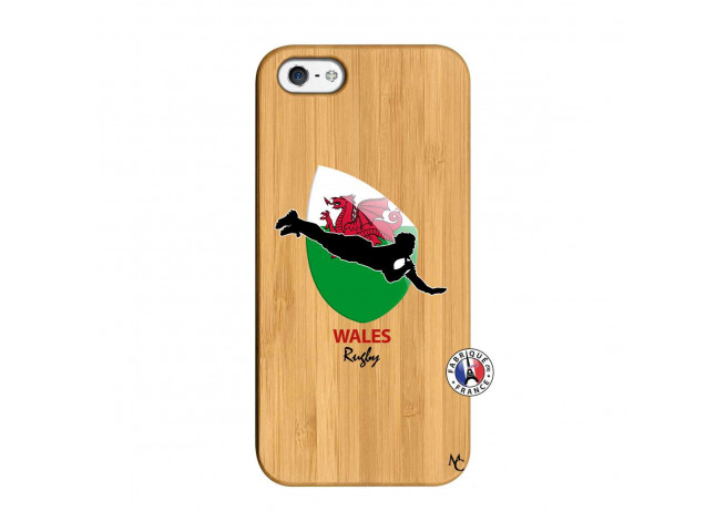 Coque iPhone 5/5S/SE Coupe du Monde Rugby-Walles Bois Bamboo