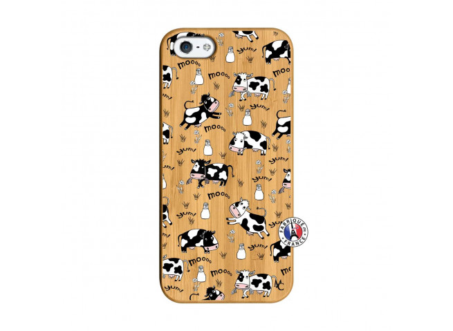 Coque iPhone 5/5S/SE Cow Pattern Bois Bamboo