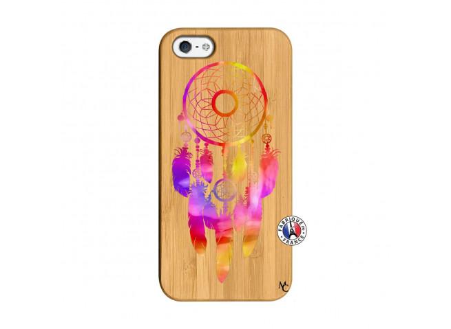 Coque iPhone 5/5S/SE Dreamcatcher Rainbow Feathers Bois Bamboo