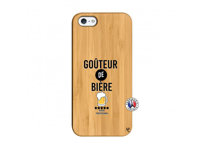 Coque iPhone 5/5S/SE Gouteur De Biere Bois Bamboo