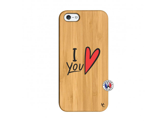 Coque iPhone 5/5S/SE I Love You Bois Bamboo