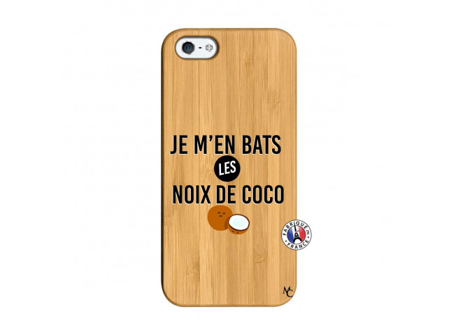 Coque iPhone 5/5S/SE Je m'en bats Les Noix De Coco Bois Bamboo