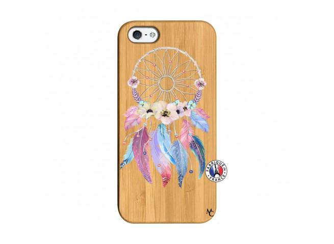 Coque iPhone 5/5S/SE Multicolor Watercolor Floral Dreamcatcher Bois Bamboo