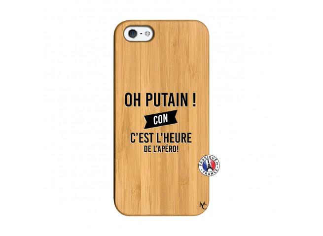 Coque iPhone 5/5S/SE Oh Putain C Est L Heure De L Apero Bois Bamboo