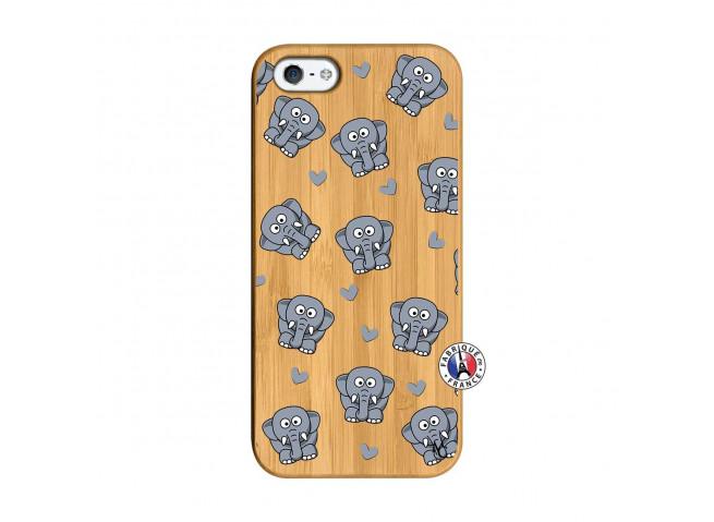 Coque iPhone 5/5S/SE Petits Elephants Bois Bamboo