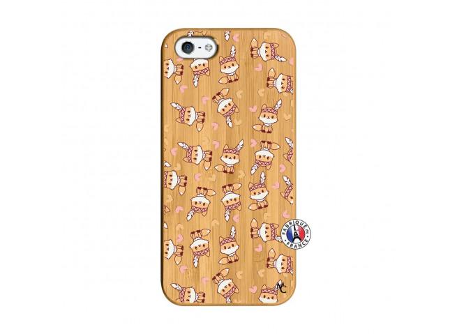 Coque iPhone 5/5S/SE Petits Renards Bois Bamboo