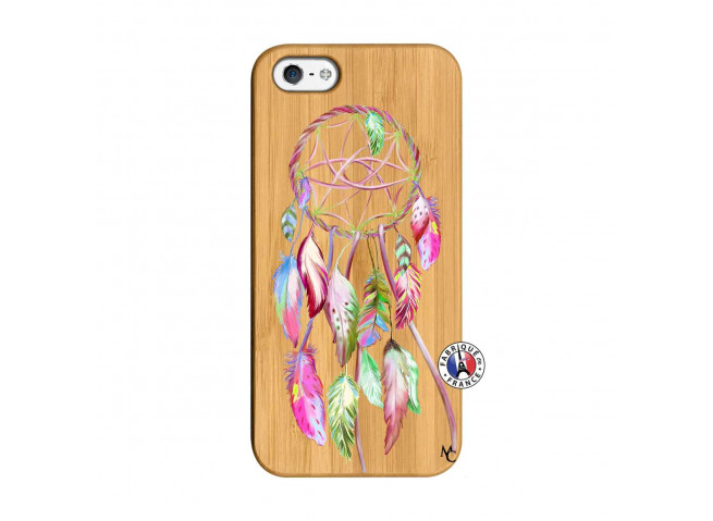 Coque iPhone 5/5S/SE Pink Painted Dreamcatcher Bois Bamboo