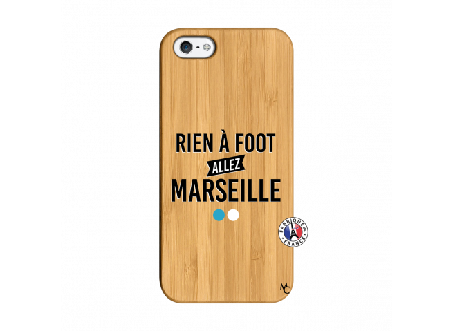 Coque iPhone 5/5S/SE Rien A Foot Allez Marseille Bois Bamboo