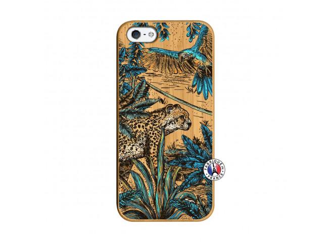 Coque iPhone 5/5S/SE Leopard Jungle Bois Bamboo