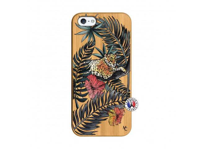 Coque iPhone 5/5S/SE Leopard Tree Bois Bamboo