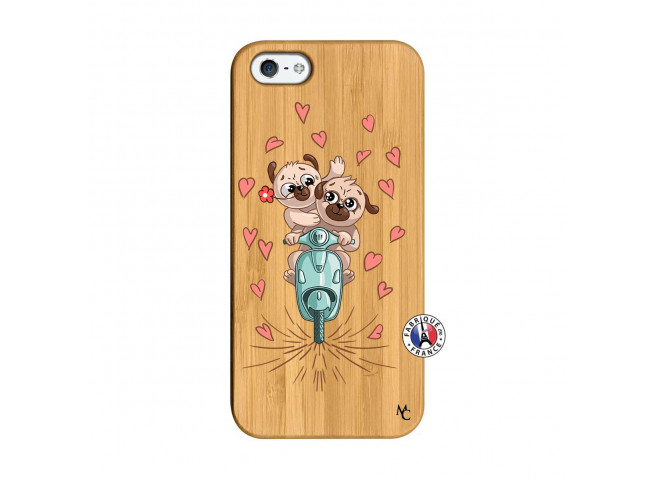 Coque iPhone 5/5S/SE Puppies Love Bois Bamboo
