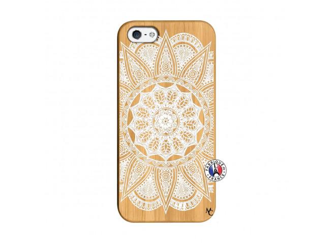 Coque iPhone 5/5S/SE White Mandala Bois Bamboo