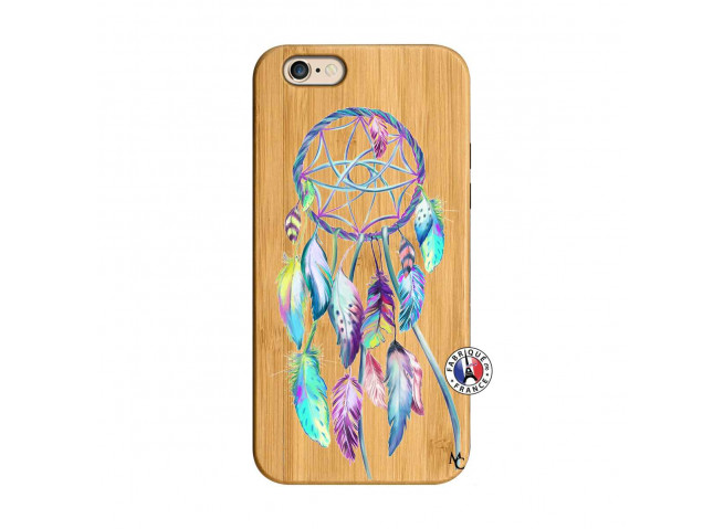 Coque iPhone 6/6S Blue Painted Dreamcatcher Bois Bamboo