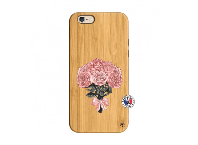 Coque iPhone 6/6S Bouquet de Roses Bois Bamboo