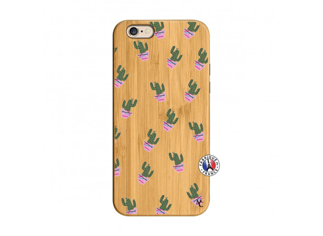 Coque iPhone 6/6S Cactus Pattern Bois Bamboo
