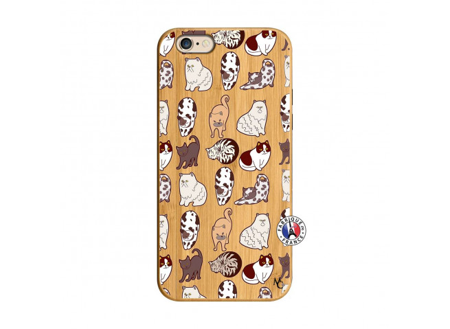Coque iPhone 6/6S Cat Pattern Bois Bamboo