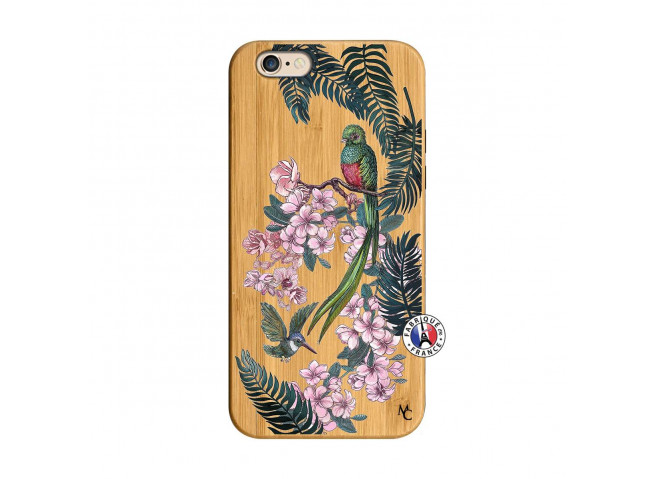 Coque iPhone 6/6S Flower Birds Bois Bamboo