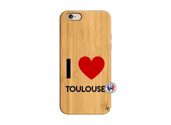 Coque iPhone 6/6S I Love Toulouse Bois Bamboo
