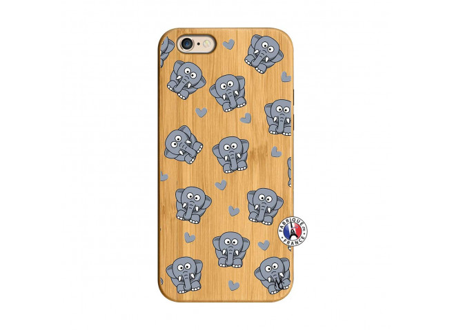 Coque iPhone 6/6S Petits Elephants Bois Bamboo