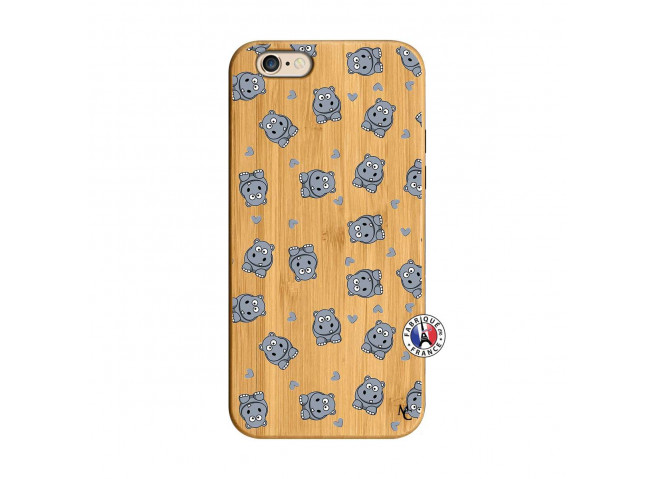 Coque iPhone 6/6S Petits Hippos Bois Bamboo
