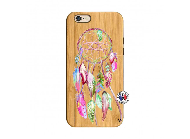 Coque iPhone 6/6S Pink Painted Dreamcatcher Bois Bamboo
