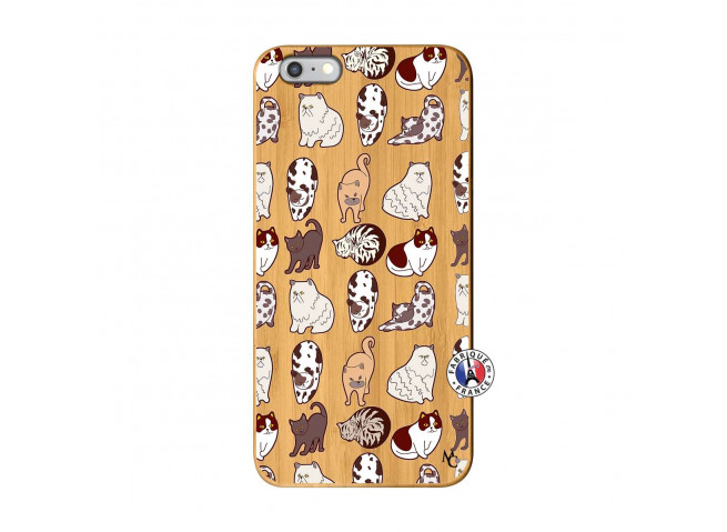 Coque iPhone 6Plus/6S Plus Cat Pattern Bois Bamboo