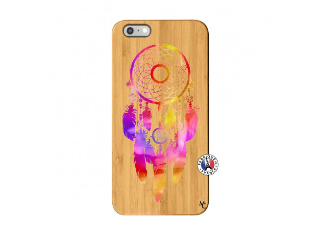 Coque iPhone 6Plus/6S Plus Dreamcatcher Rainbow Feathers Bois Bamboo