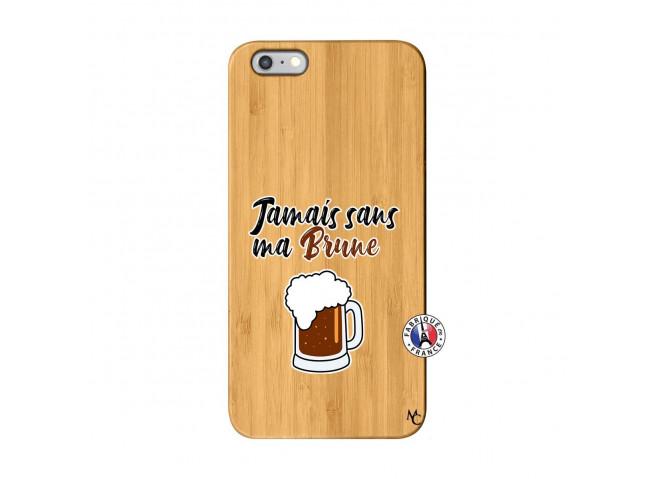 Coque iPhone 6Plus/6S Plus Jamais Sans Ma Brune Bois Bamboo