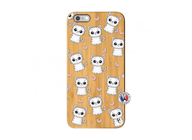 Coque iPhone 6Plus/6S Plus Petits Chats Bois Bamboo