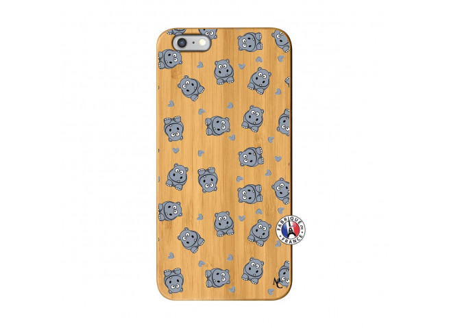 Coque iPhone 6Plus/6S Plus Petits Hippos Bois Bamboo