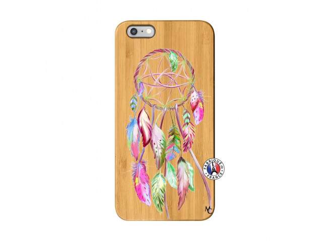 Coque iPhone 6Plus/6S Plus Pink Painted Dreamcatcher Bois Bamboo