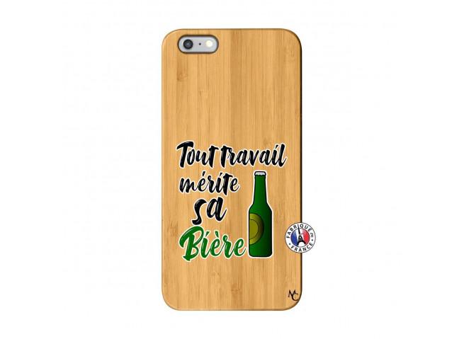 Coque iPhone 6Plus/6S Plus Tout Travail Merite Sa Biere Bois Bamboo