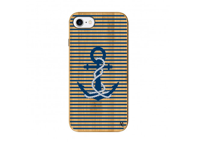 Coque iPhone 7/8 Ancre Bois Bamboo