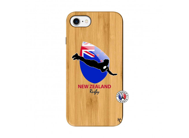Coque iPhone 7/8 Coupe du Monde Rugby- Nouvelle Zélande Bois Bamboo