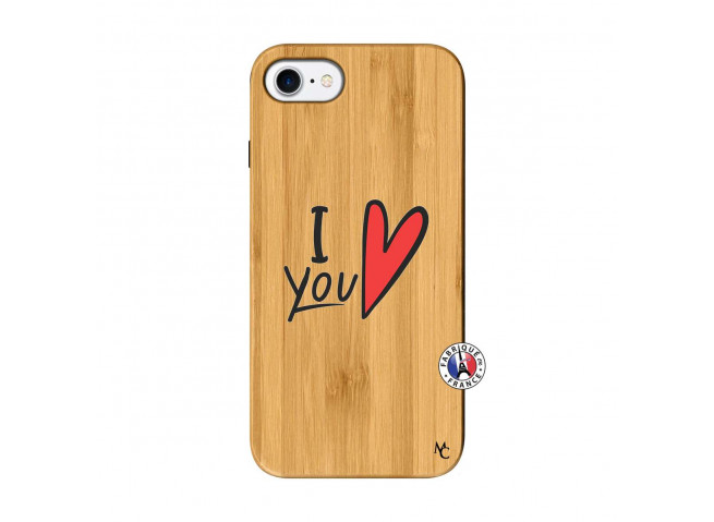 Coque iPhone 7/8 I Love You Bois Bamboo