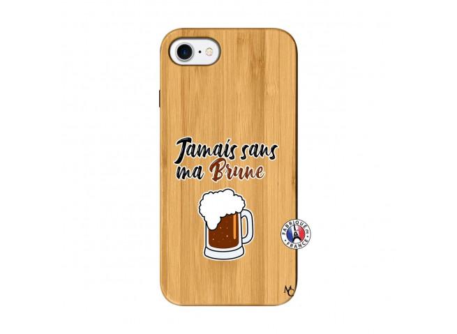 Coque iPhone 7/8 Jamais Sans Ma Brune Bois Bamboo