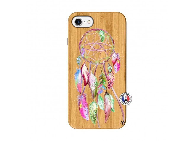 Coque iPhone 7/8 Pink Painted Dreamcatcher Bois Bamboo