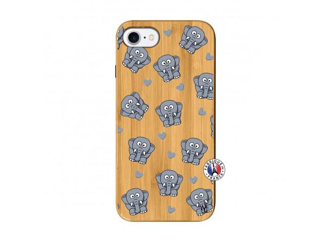 Coque iPhone 7/8/se 2020 Petits Elephants Bois Bamboo