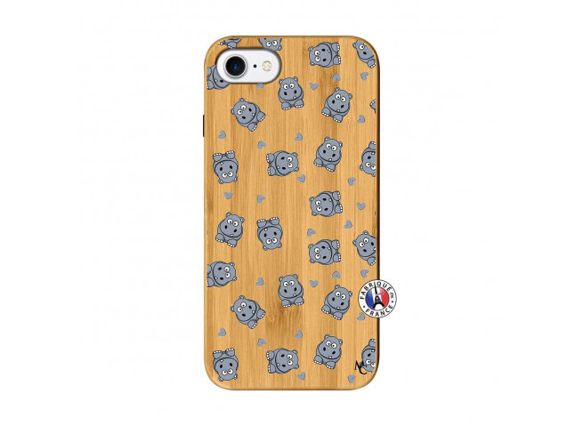 Coque iPhone 7/8/se 2020 Petits Hippos Bois Bamboo