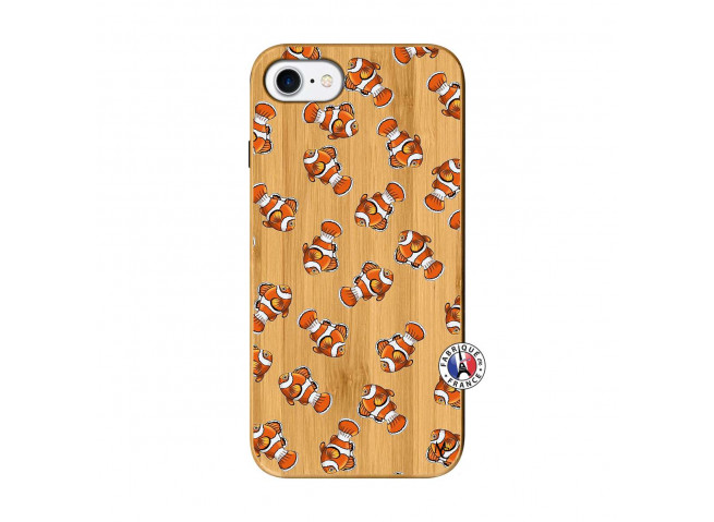 Coque iPhone 7/8/se 2020 Petits Poissons Clown Bois Bamboo
