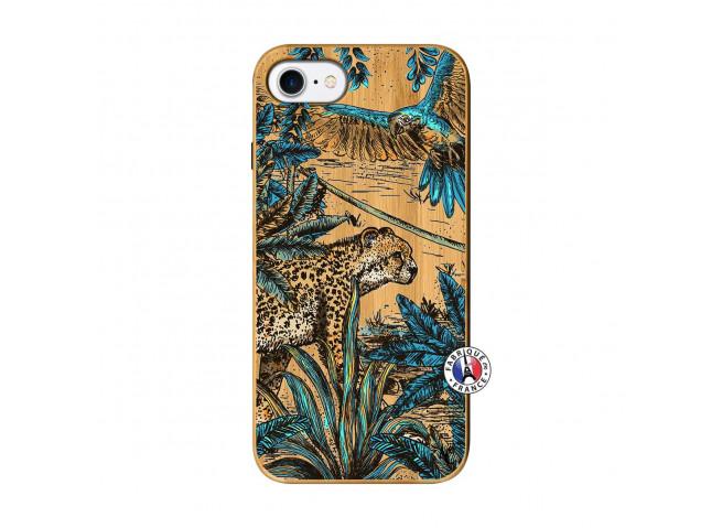 Coque iPhone 7/8/se 2020 Leopard Jungle Bois Bamboo
