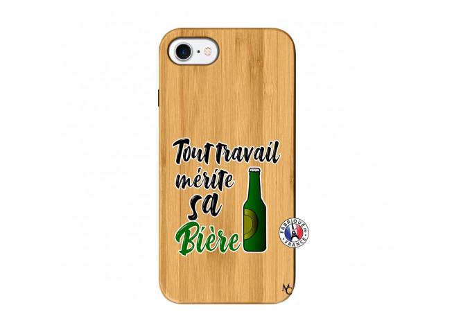 Coque iPhone 7/8 Tout Travail Merite Sa Biere Bois Bamboo