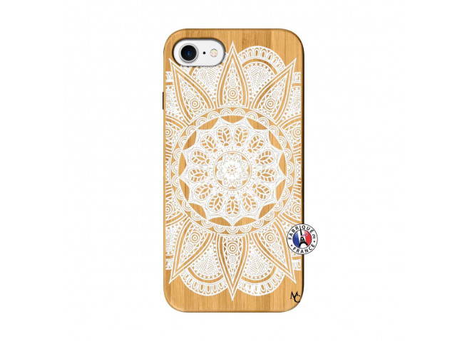 Coque iPhone 7/8 White Mandala Bois Bamboo