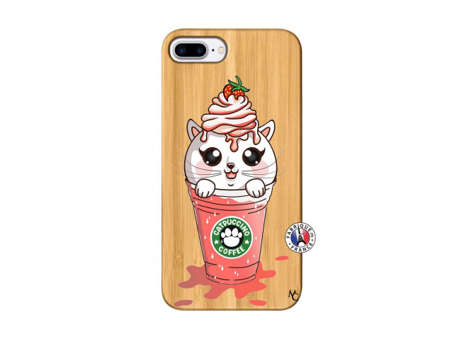 Coque Bois iPhone 7Plus/8Plus Catpucino Ice Cream Smoothie