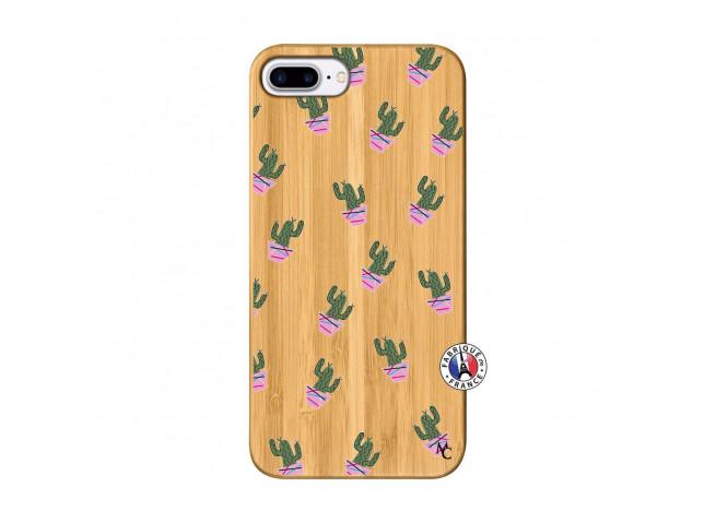 Coque iPhone 7Plus/8Plus Cactus Pattern Bois Bamboo