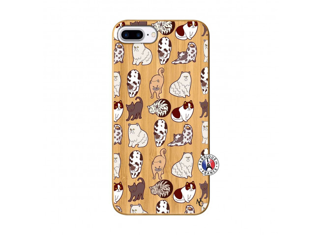 Coque iPhone 7Plus/8Plus Cat Pattern Bois Bamboo