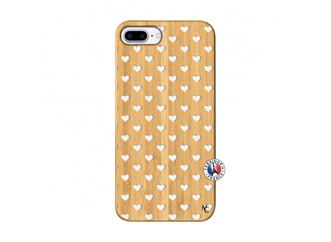 Coque iPhone 7Plus/8Plus Little Hearts Bois Bamboo