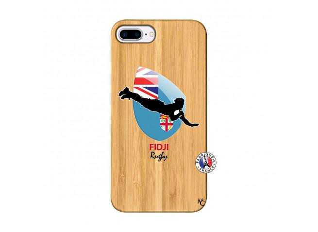 Coque iPhone 7Plus/8Plus Coupe du Monde Rugby Fidji Bois Bamboo