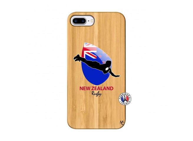 Coque iPhone 7Plus/8Plus Coupe du Monde Rugby- Nouvelle Zélande Bois Bamboo